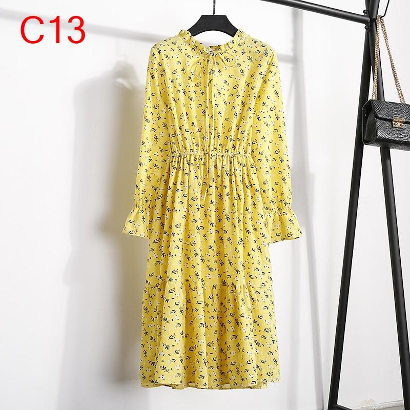 Korean Black Shirt Vestidos Office Polka Dot Vintage Autumn Dresses Women Winter Dress 19 Midi Floral Long Sleeve Dress Female 107