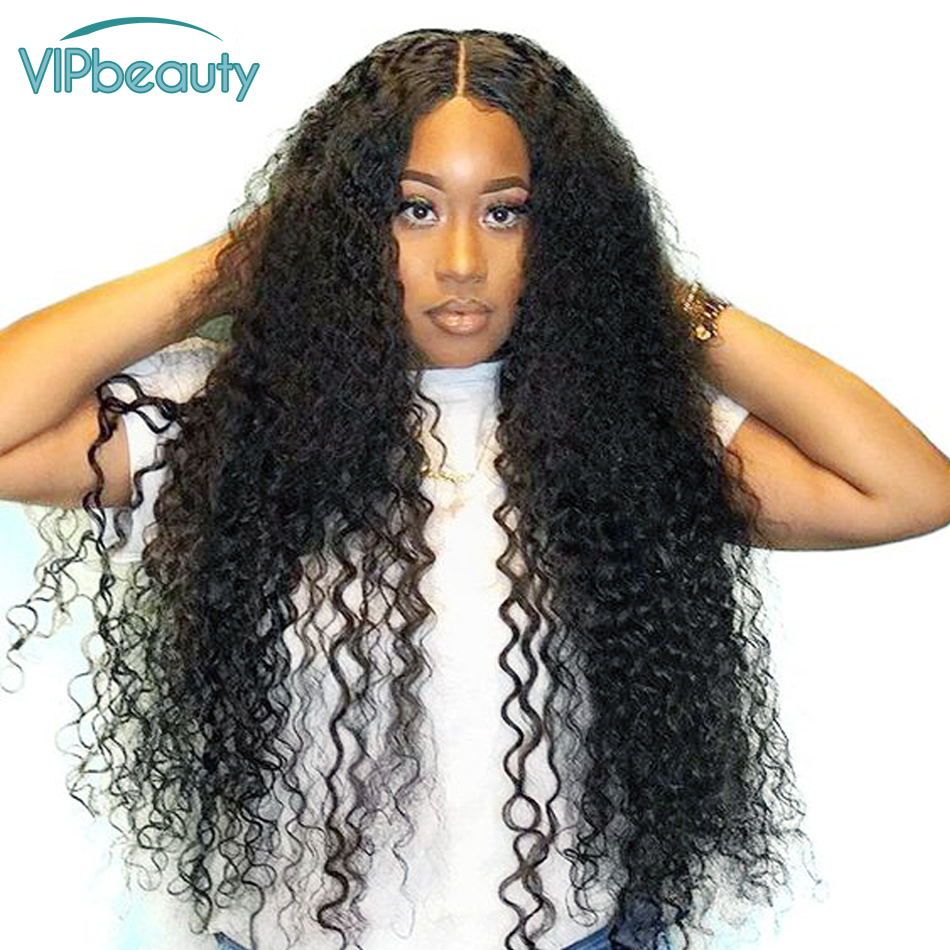 Vipbeauty Lace Front Human Hair Wigs 150 Density Curly Human Hair Wig 13x4 Malaysian Remy Wigs
