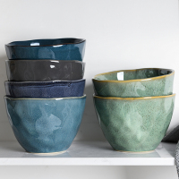 Japanese underglaze color large capacity irregular retro ceramic bowl home large soup bowl deep bowl kitchen cutlery
