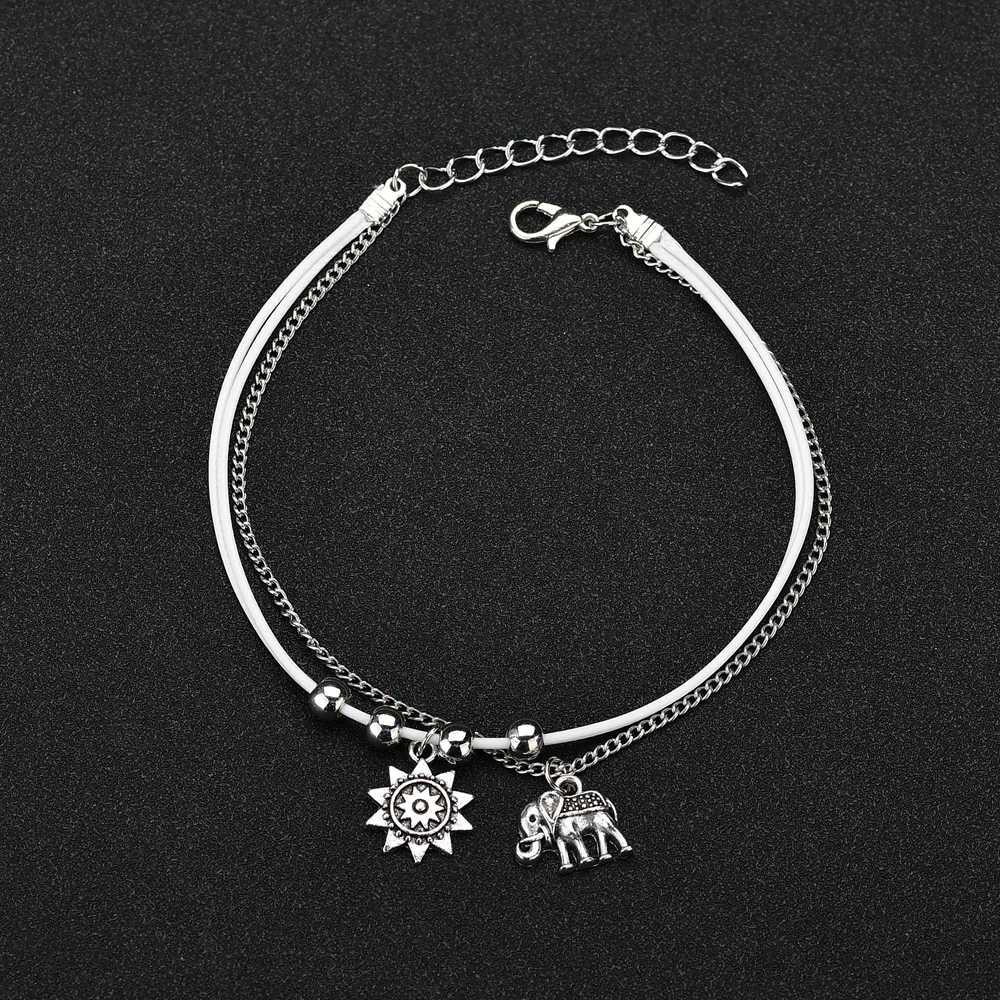 Double Layers Boho Elephant Ankle Bracelet Women Chain Anklet Foot Feet Jewelry
