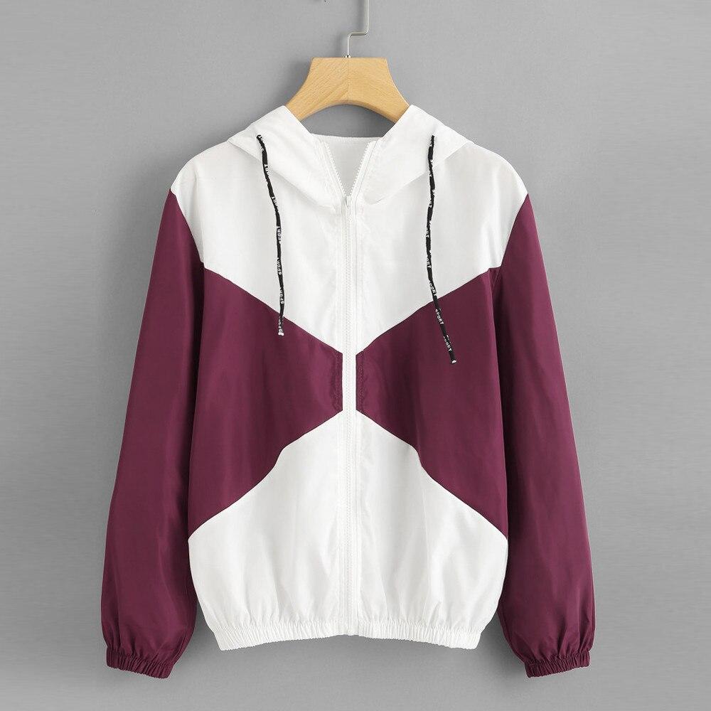 Feitong women jackets 2018 Autumn Women Long Sleeve Patchwork Thin Skinsuits Hooded Zipper Pockets Sport Coat  chaqueta mujer