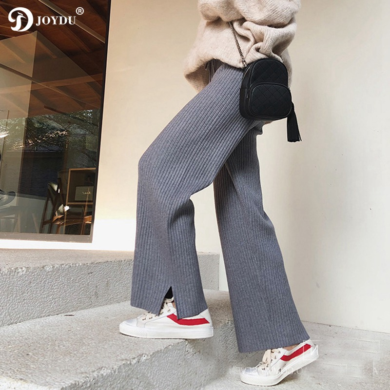 JOYDU Harajuku Trousers 2019 New Spring Jersey Knit   Wide     Leg     Pants   Women High Waist Chic Korean Casual Sweatpants pantalon femme