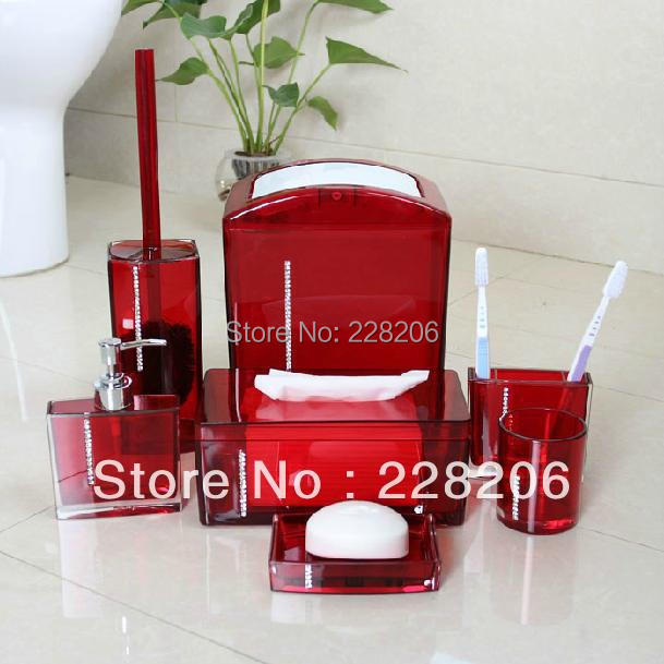 Diamond Acrylic Bathroom Set 7 Piece Supplies Five Colors Bath