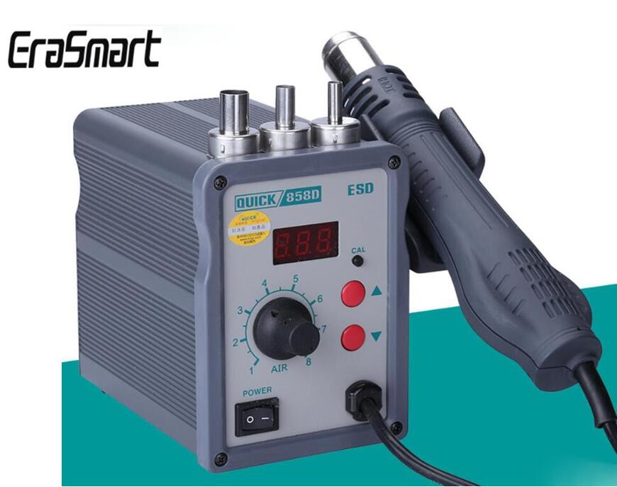 858D Hot Air Soldering Station 700W 220V Heat Air Gun Welding BGA SMD Rework Station With LED Digital Display Helical Wind