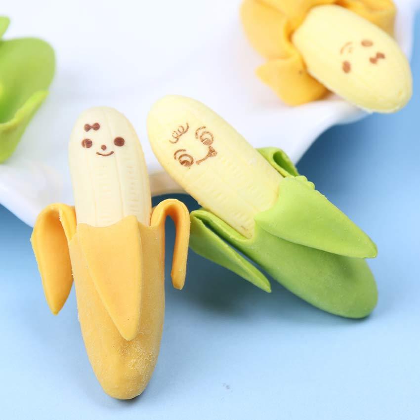 2 шт мультфильм Kawaii банан резиновый ластик милые школьные принадлежности игрушечный материал студенческие канцелярские принадлежности дл...
