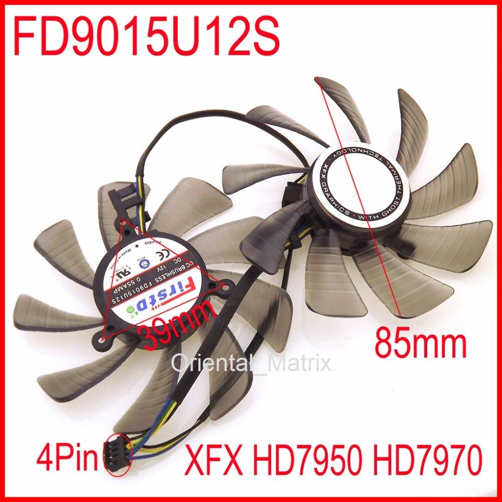 2 pcs/lot FD9015U12S 12 V 0.55A 85mm 39x39x39mm Pour XFX HD7950 HD7970 XFX FX-797G-TDF Carte graphique Ventilateur 4Pin