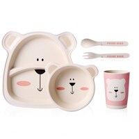 Bamboo Tableware Set 5pcs Set Plate Bowl Children's Dishes Fork Spoon Baby Feeding Kids Bamboo Plate Child Dish Children's Plate