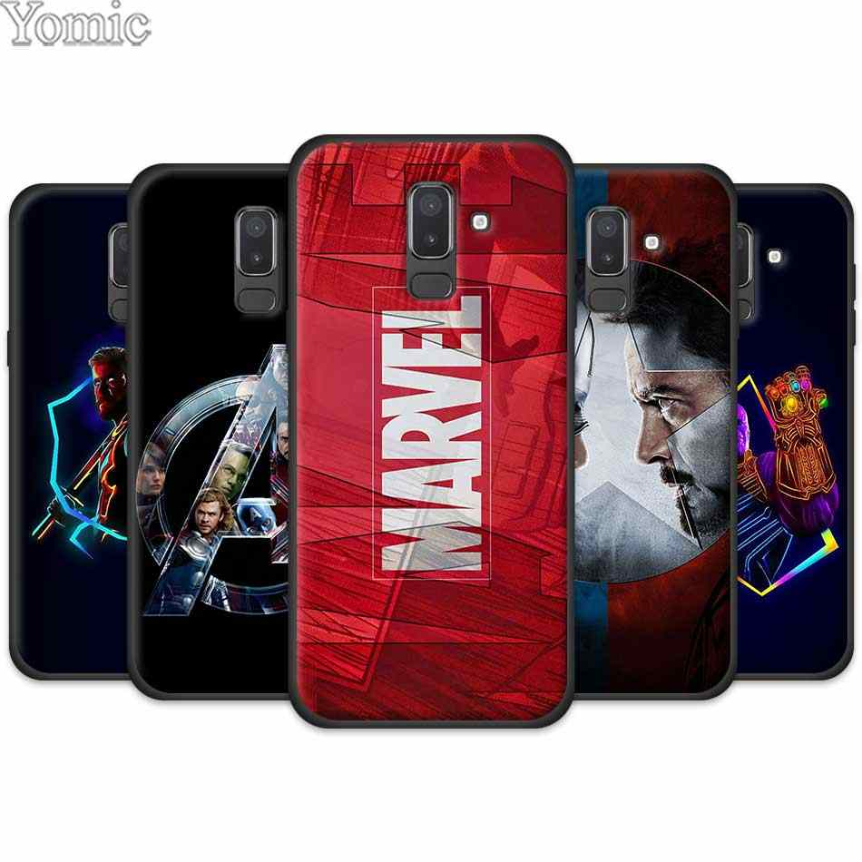 Silicone Black Phone Case Cover for Samsung Galaxy J4 J6 J8 Plus 2018 J4Plus J6Plus Cases Coque Marvel Superheroes The Avengers