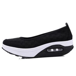 Image 4 - STQ 2020 Autumn Women Flat Platform Shoes Women Breathable Mesh Casual Sneakers Shoes Ladies Thick Sole Heel Slip On Shoes 9001