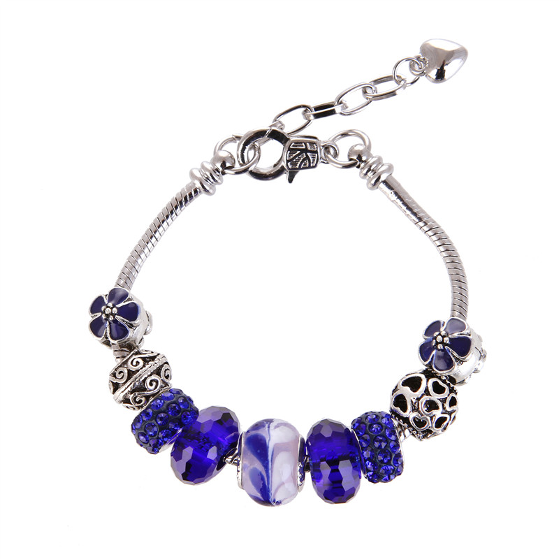 High Quality Royal blue crystal Glass Noble Pretty Charm Bracelet Pandora Bracelet For Women/Gril gift jewelry Drop Shipping