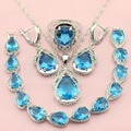 Ashley Light Blue Stone Crystal Silver Plated Jewelry Sets For Women Necklace/Pendant/Earrings/Chain Bracelet/Ring Free Gift Box