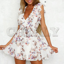 CUERLY Sexy deep v-neck women dress Ruffled sleeveless floral print female summer dress Elegant sashes casual ladies mini dress white random floral print v neck sleeveless mini dress