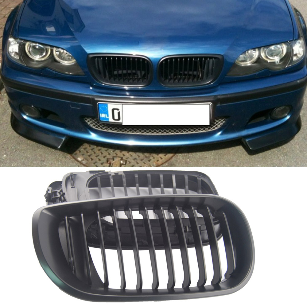 Black Kidney Front Grille for BMW E46 3 Series 4 DOOR 4D 2002-2005 LCI Facelift car bight glossy black double slat front grille grill for bmw e92 lci facelift e93 2011 2012 2013 c 5