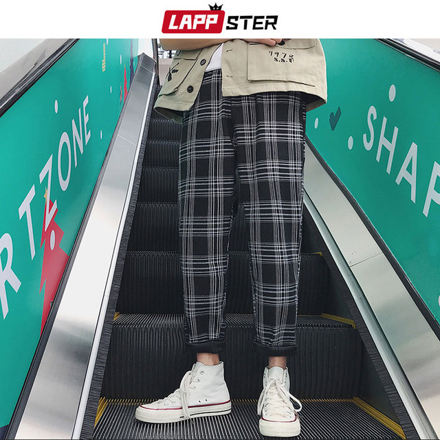 LAPPSTER Streetwear Yellow Plaid Pants Men Joggers 2020 Man Casual Straight Harem Pants Men Korean Hip Hop Track Pants Plus Size 3