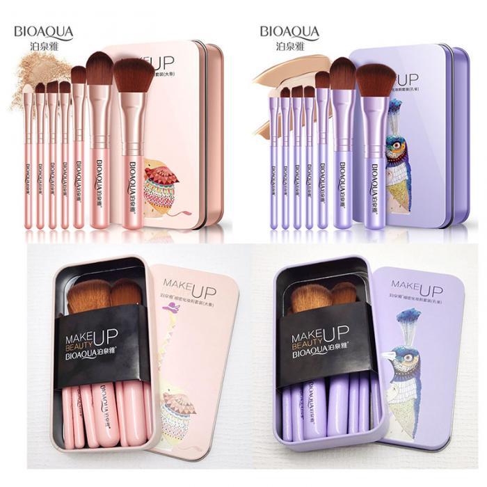 2017 New Hot BIOAQUA 7Pcs Makeup Brushes Set Eye Lip Face Foundation Make Up Brush Kit Soft Fiber Hair Tools Fastshipping WH998 7
