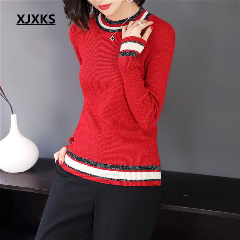 XJXKS 2018 New Autumn winter sweater pullover women slim round neck striped ulzzang brand women's knit sweaters