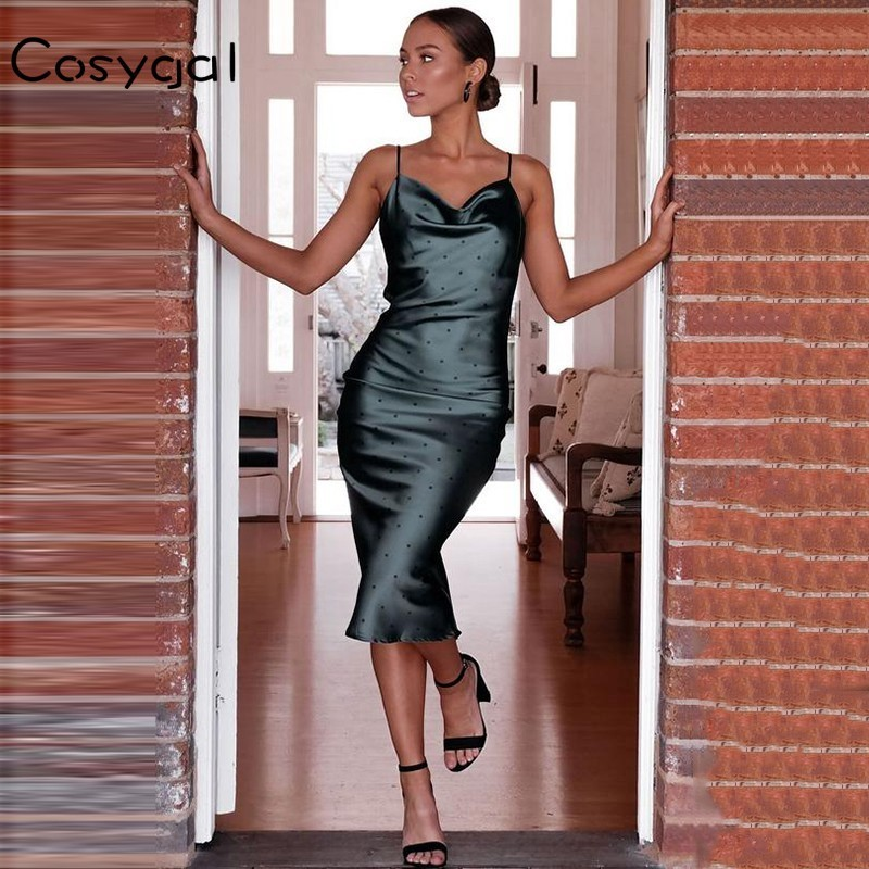 Detail Feedback Questions about COSYGAL Spaghetti Strap Satin Casual Dress  Women Backless Strapless Sexy Dress Club Party Midi Dresses 2018 Autumn  Vestidos ... b95f72efa60b