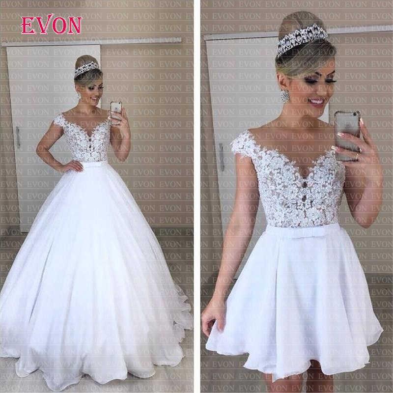 Barato Vestido de noiva A ou B estilo Chiffon Vestido De Noiva Boho 2019 Illusion Sheer Pescoço Saia de Renda Removível vestidos de casamento