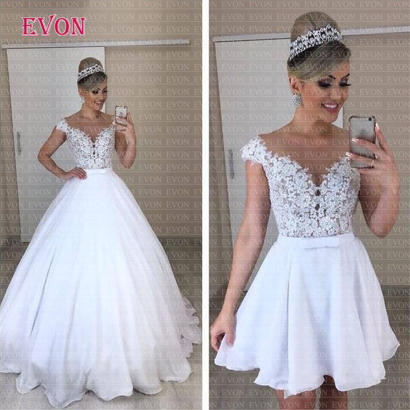 Cheap Vestido De Noiva A Or B Style Chiffon Boho Wedding Dress 2019 Sheer Illusion O Neck Lace Removable Skirt  Wedding Gowns