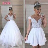 Cheap Vestido de noiva A or B style Chiffon Boho Wedding Dress 2019 Sheer Illusion O Neck Lace Removable Skirt Wedding Gowns