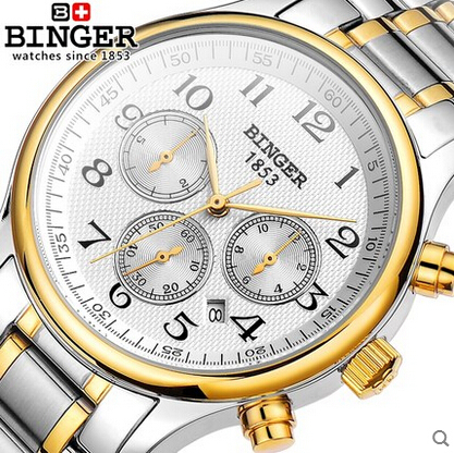 Switzerland BINGER Luxury Brand Men full steel automatic mechanical Self Wind Sapphire business watch waterproof Wrist Watches original binger mans automatic mechanical wrist watch date display watch self wind steel with gold wheel watches new luxury
