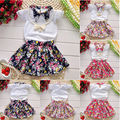 2016 Flower Girls Kids Party Dress Outfits Tops Blouse+Skirts 2pcs Clothes Set 2-7Y