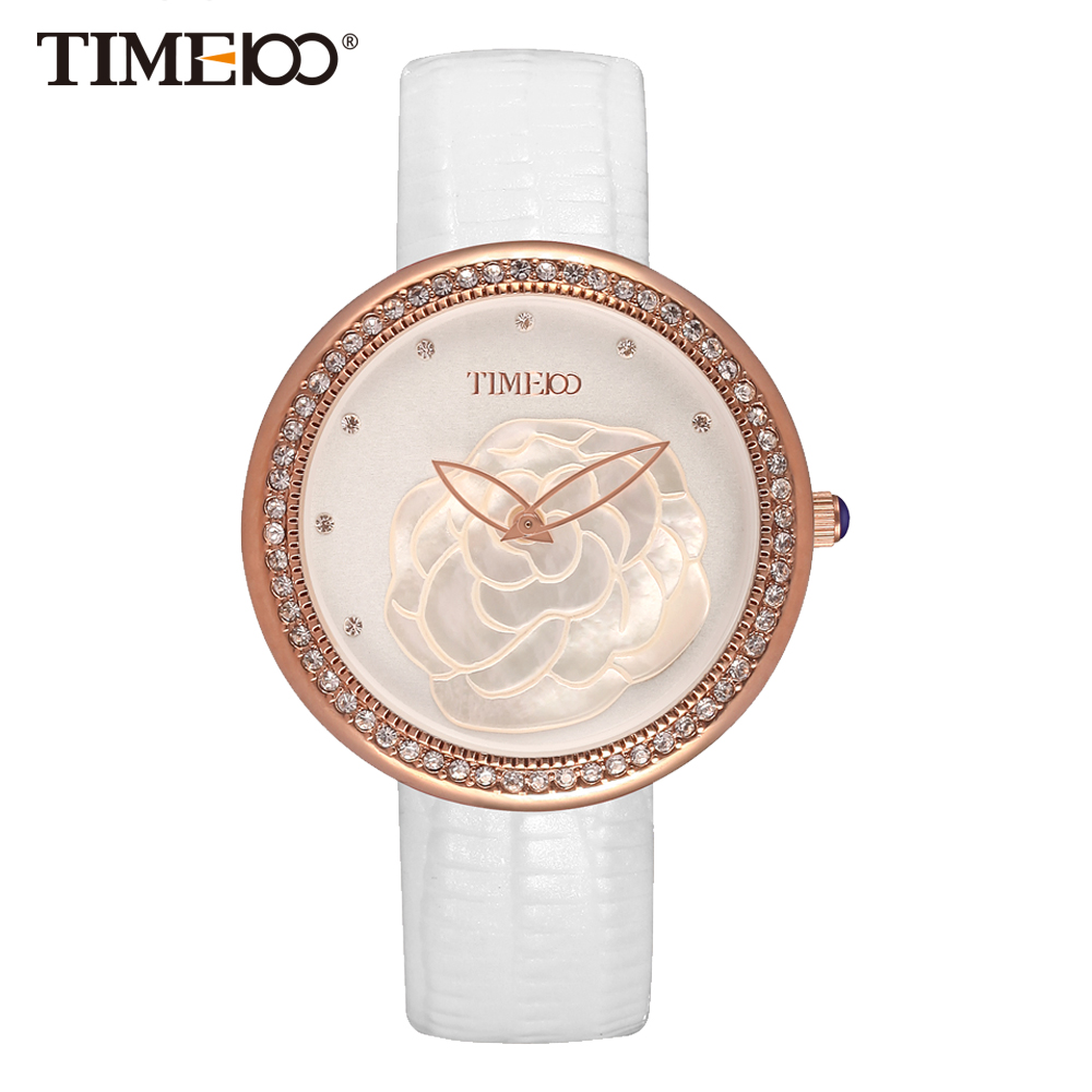ФОТО Time100 Fashion Women's Watches White Leather Strap Quartz Watches Diamond Shell Big Dial Ladies Wrist Watch relogios feminino