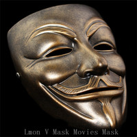 Hoogwaardige 100% Hars Ambachtelijke Hars V voor Vendetta Masker Voor Decoratie Collectibles Carnaval Halloween Party Mannen cosplay V masker