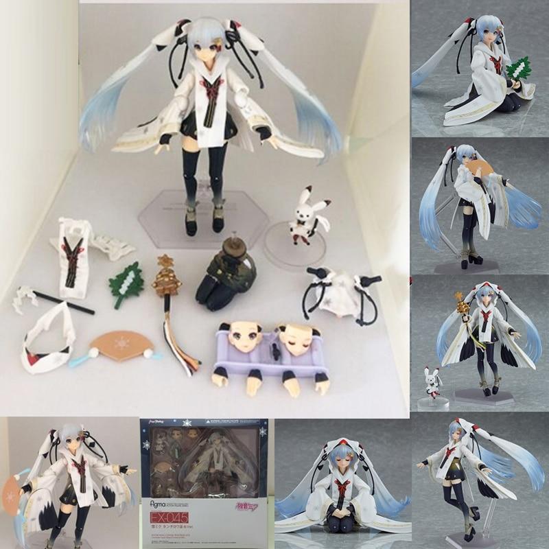 Hastune Miku FIGMA 045 Figure EX-045 Snow Hatsune Miku Crane Priestess Version PVC Action Figures Toys