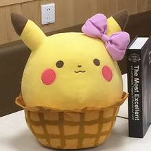 38cm Pikachu Plush Toys High Quality Cute Anime Plush Toys Children's Gift Toy Kids Cartoon Peluche Pikachu Plush Doll  Pillow