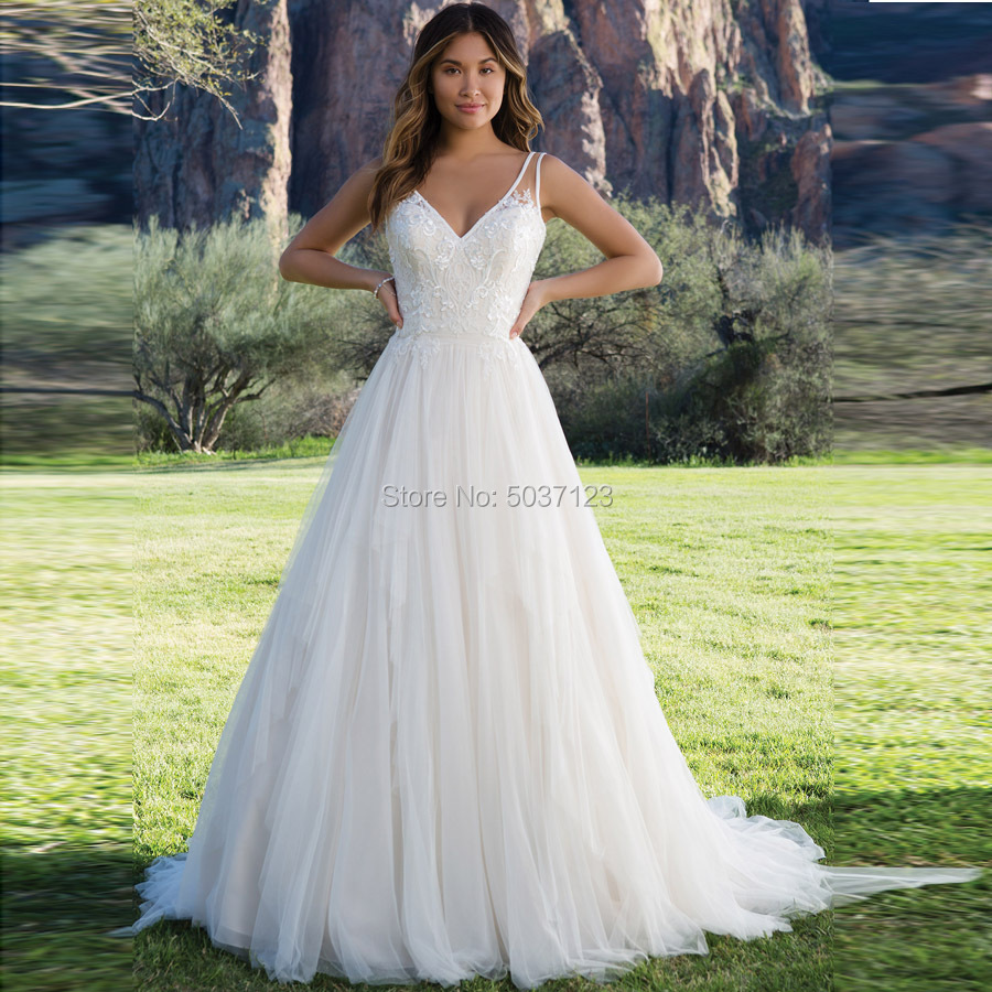 V Neck Sleeveless A Line Wedding Dresses Lace Appliques Backless Tulle Wedding Bridal Gowns Vestido De Noiva Custom Made