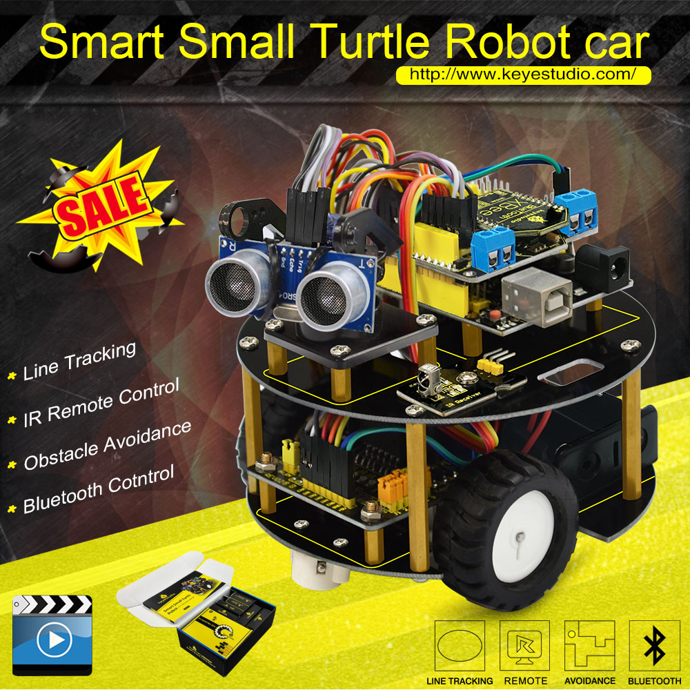 keyestudio smart small turtle Robot car Smart car for Aduino Robot starter manual PDF Installation Video
