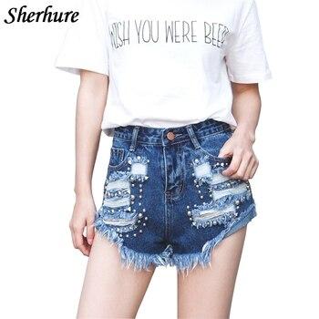92f1db338 2018 Novos Calções de Verão Mulheres Rebite Buraco Denim Shorts Com Bolso  de Cintura Alta Shorts Mulheres Moda Sexy Magro Curto Feminino