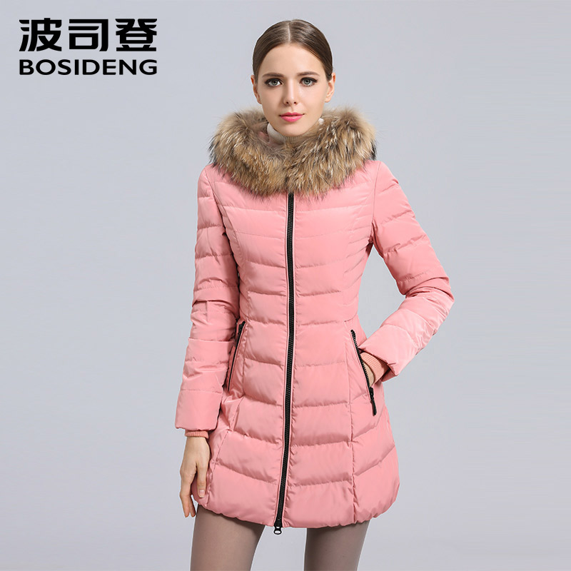 BOSIDENG women s clothing winter thick down coat winter long down jacket natural fur collar hooded
