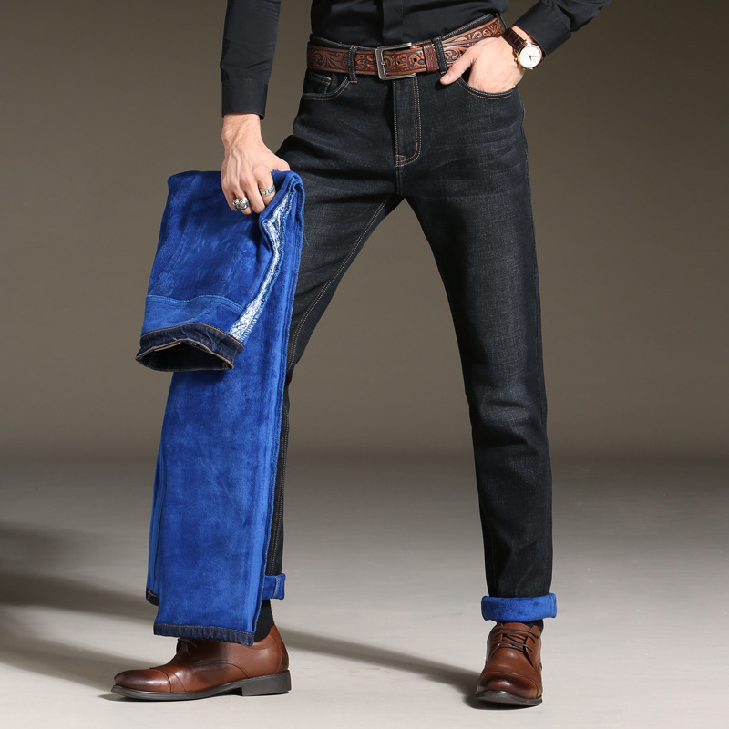 2017new arrival high quality brand blue warm jeans men, Mens winter thicken Stretch Denim zipper pants men