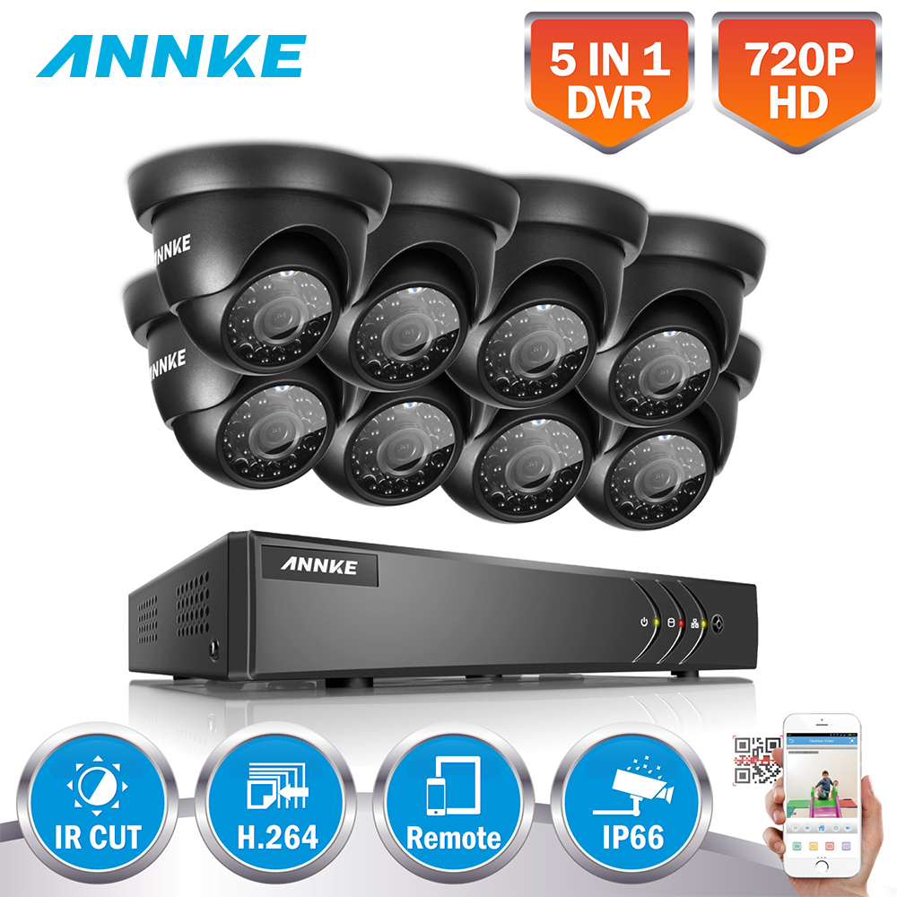 ANNKE HD 8CH 720P HDMI Security Camera System 8CH 720P 1080N 5IN1 DVR With Smart Search