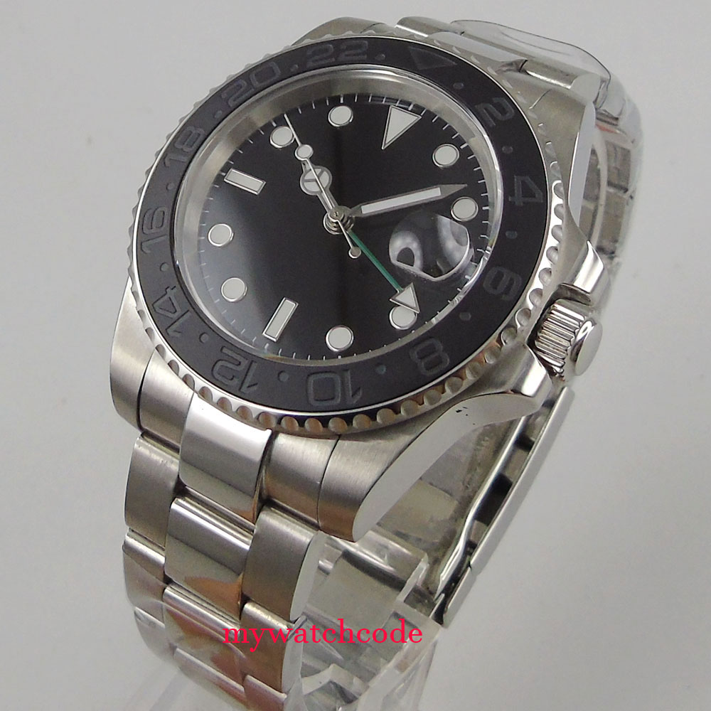лучшая цена 40mm parnis black sterile dial GMT date window ceramic bezel sapphire crystal automatic mens watch P407