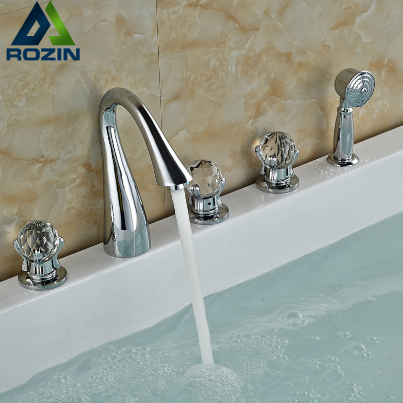 Deck Mounted Waterfall Bathroom Faucet Widespread Crane Three Handles Tub Filler Roman Tub Mixer Taps Chrome Finish luxury widespread deck mount waterfall bathtub mixer faucet three handles bath tub filler chrome finish