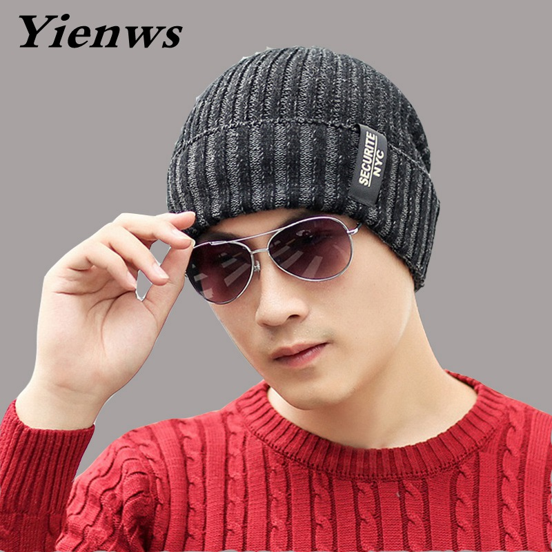 Yienws Winter  Men Hats And Caps Skullies And Beanies Hedging Cap Knit Ski Hat Bonnet Stocking Hat Crochet Slouchy Cap YIC577 35colors silver gold soild india scarf cap warmer ear caps yoga hedging headwrap men and women beanies multicolor fold hat 1pc