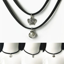 Hot New Fashion Jewelry Simple Black Velvet Ribbon Crystal Necklace Alloy Pendant Chokers Necklace For Women 2019 Jewelry Gift(China)