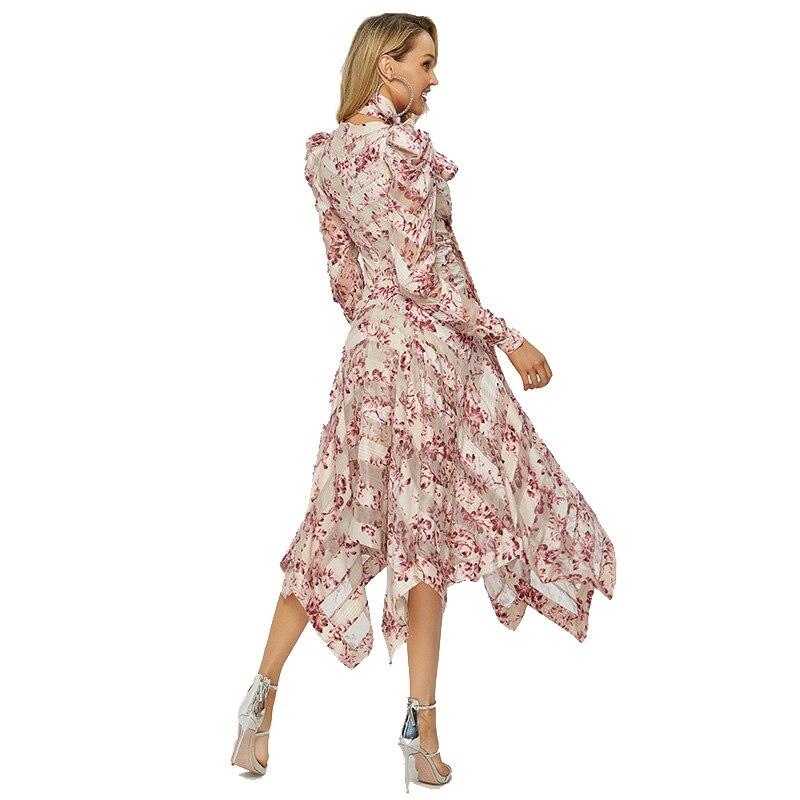 طويل ماكسي غير المتماثلة غير النظامية الوردي اللباس الصيف طويلة الأكمام الأزياء المطبوعة البوهيمي اللباس خمر Vestidos الإناث الملابس-في فساتين من ملابس نسائية على  مجموعة 3