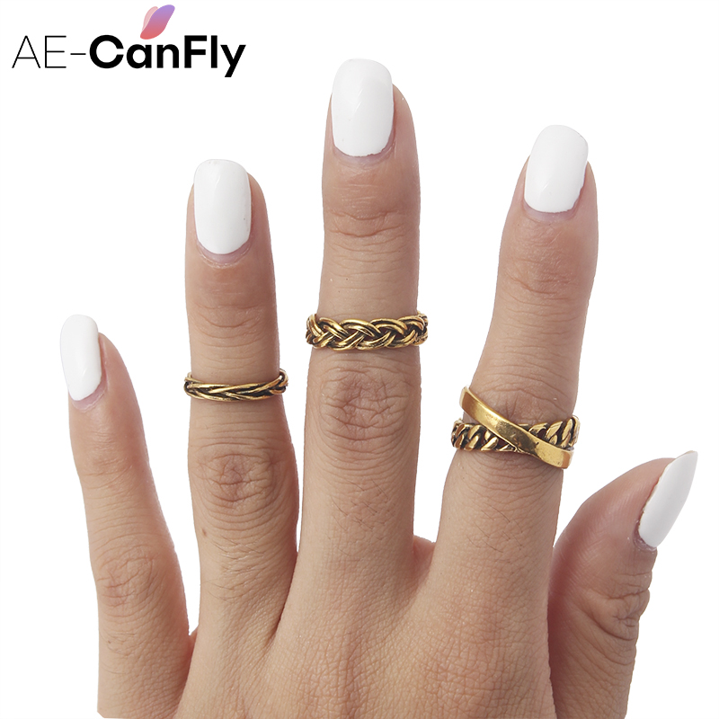 US $1 66 12% OFF|AE CANFLY Vintage Jewelry Punk Braid Ring Set Antique  Color Cross Hollow Rings for Women US Size 5 5 2D4015-in Rings from Jewelry  &