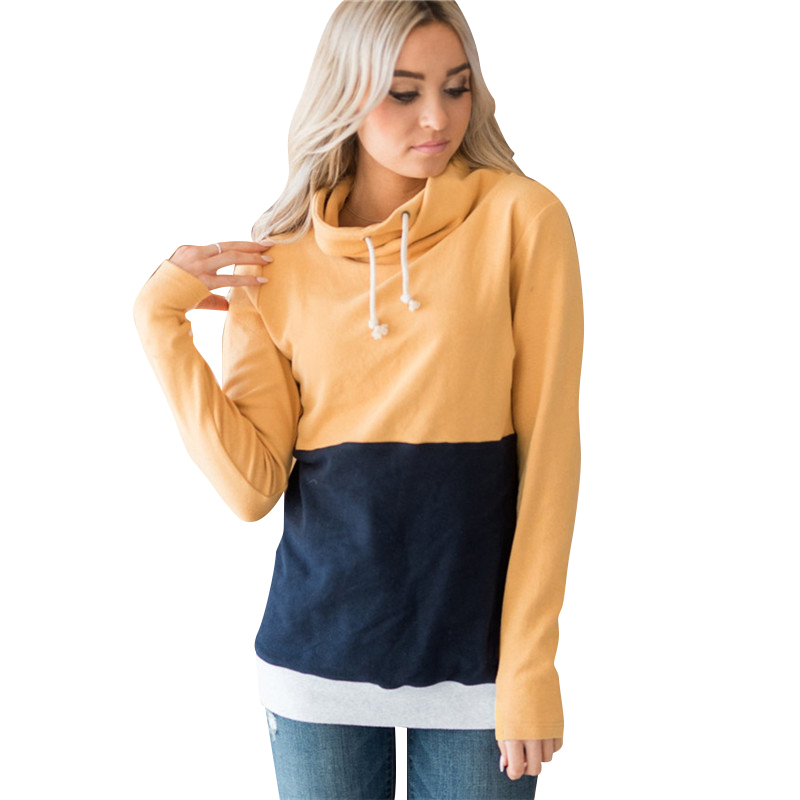 New Hot Women Fashion Splice Colorblock Drawstring High Neck Long Sleeve Sweatshirt Ladies Casual Autumn Warm Cowl Neck Tops H