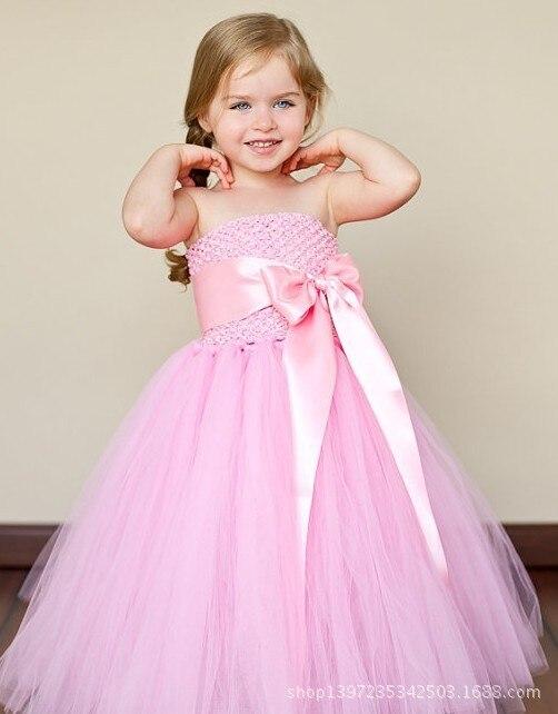 Cute Girls Pink Crochet Long Tutu Dress Kids Fluffy Corset