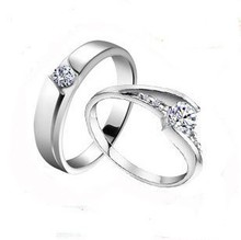 Free shipping MSF 925 sterling silver & swiss diamond platinum plated lover`s wedding band couple rings