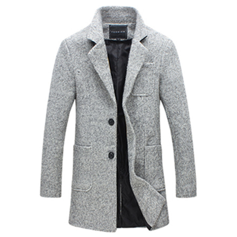 2019 Autumn and Winter New Fashion Boutique Solid Color Casual Business Men's Long Woolen Coats / Mens Grey Long Woolen Jackets(China)