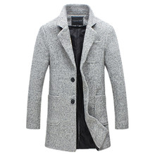 2019 Autumn and Winter New Fashion Boutique Solid Color Casual Business Mens Long Woolen Coats / Grey Jackets