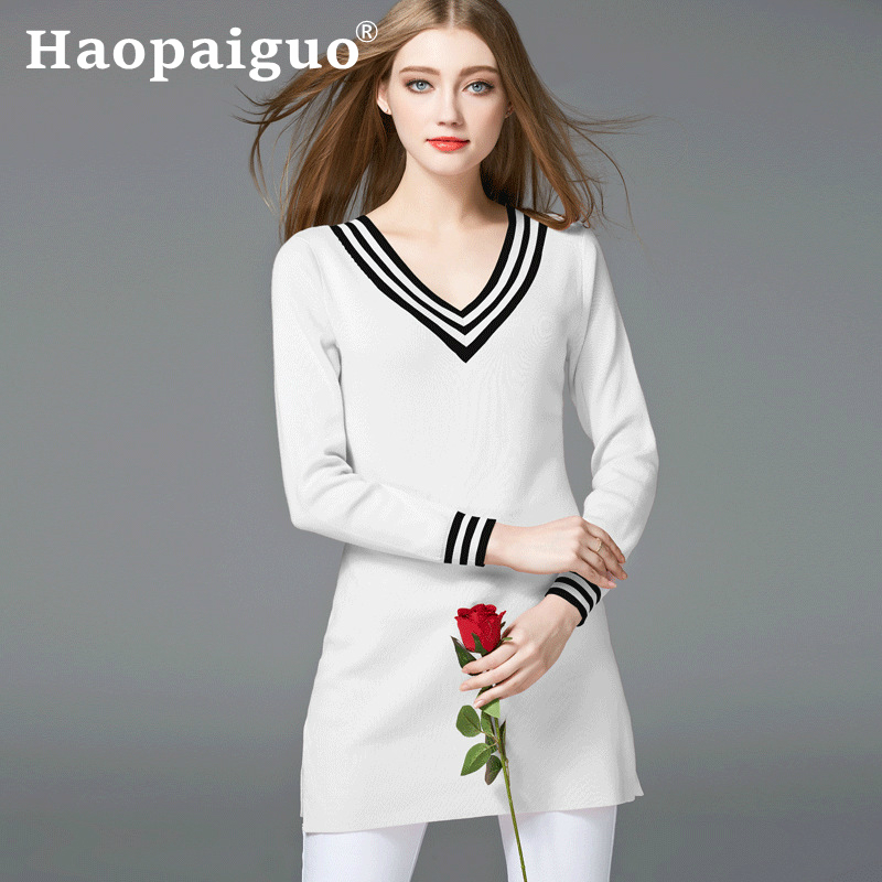 2019 Autumn and Winter New Europe Brand Cotton Sweater Jacket Women Contrast Long Sleeve White Pullover Knitted Woman
