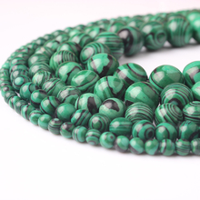 LIngXiang Natural Stone green Peacock Round beads 4 6 8 10 12MM Loose Bead For Jewelry Making Fit diy