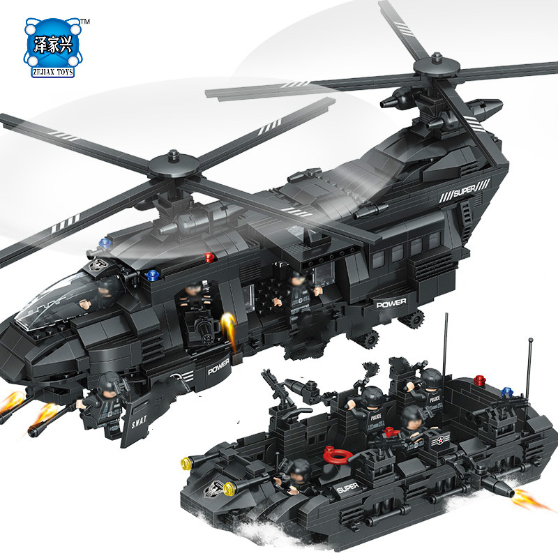 1351pcs Military Swat Team Compatible Lepins & Enlighten Model Building Blocks Transport Helicopter Bricks Children Figures Toys enlighten building blocks military cruiser model building blocks girls